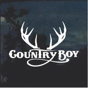 Country Boy Antlers Window Decal Sticker