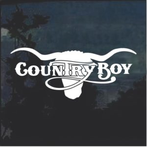 County Boy Cow Skull Window Decal Sticker