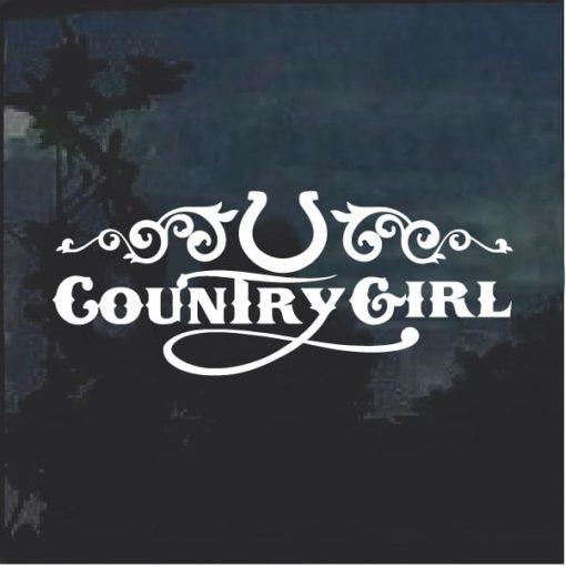 County Girl Horse shoe Window Decal Sticker