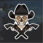 Cowboy skull and guns Window Decal Sticker