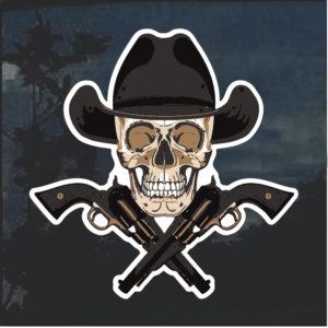 Cowboy skull and guns Window Decal Sticker