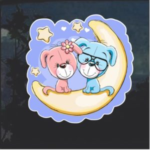 Dog Moon and Stars Decal Sticker