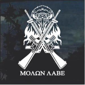 Eagle Crossed Guns Molon Labe Decal Sticker