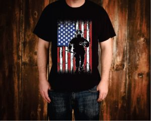 Fireman Weathered American Flag Tee Shirt