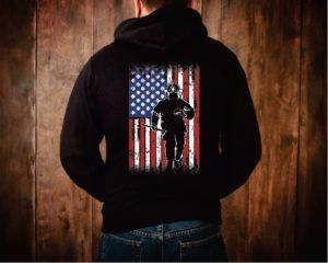 Fireman Weathered American Flag Hoodie