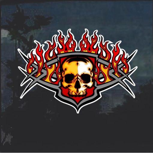 Flaming Tribal Skull Decal Sticker