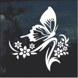 Floral Design with Butterfly 3 Window Decal Sticker
