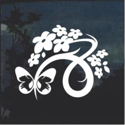 Floral Design with Butterfly 5 Window Decal Sticker