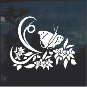Floral Design with Butterfly 6 Window Decal Sticker