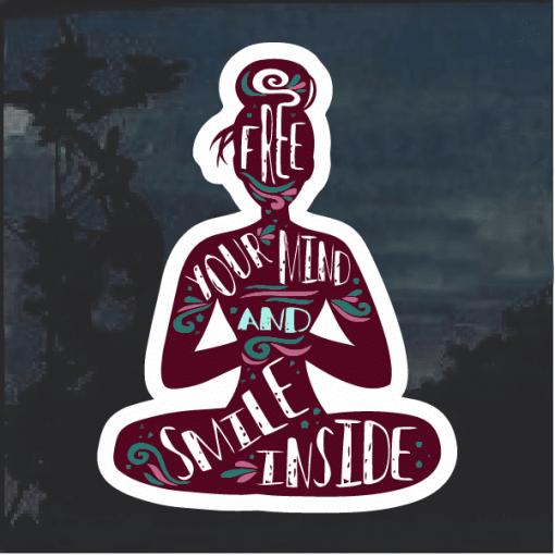 Free your mind yoga Window Decal Sticker