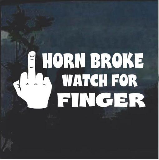 Horn Broke Watch For Finger Decal Sticker