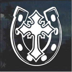 Horseshoe and Cross Window Decal Sticker