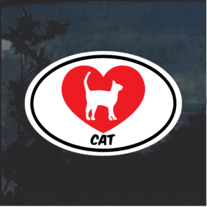 I love my cat oval Heart Window Decal Sticker