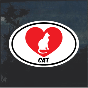 I love my cat oval Window Decal Sticker