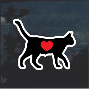 I love my cat silhouette heat Window Decal Sticker