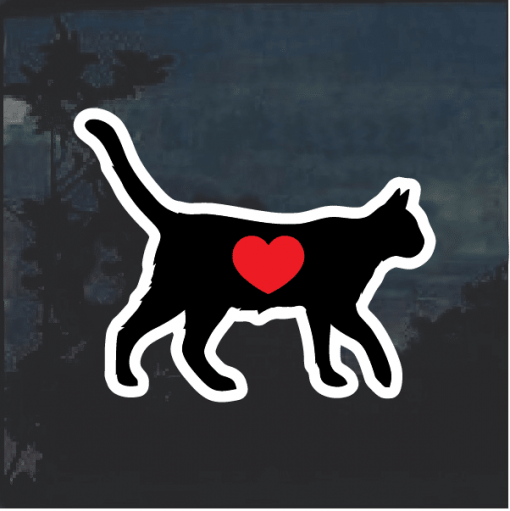 I love my cat silhouette heat Window Decal Sticker