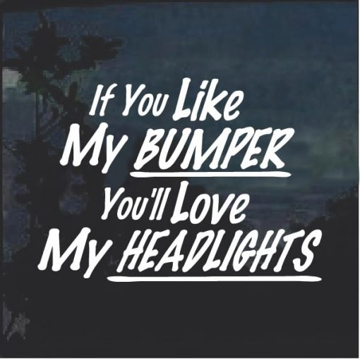 If You Like My Bumper You will Love my Headlights Window Decal Sticker
