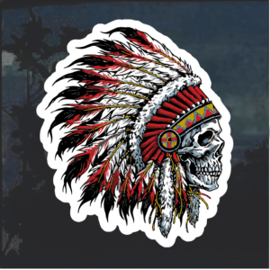 Indian Chief Skull Headdress Window Decal Sticker