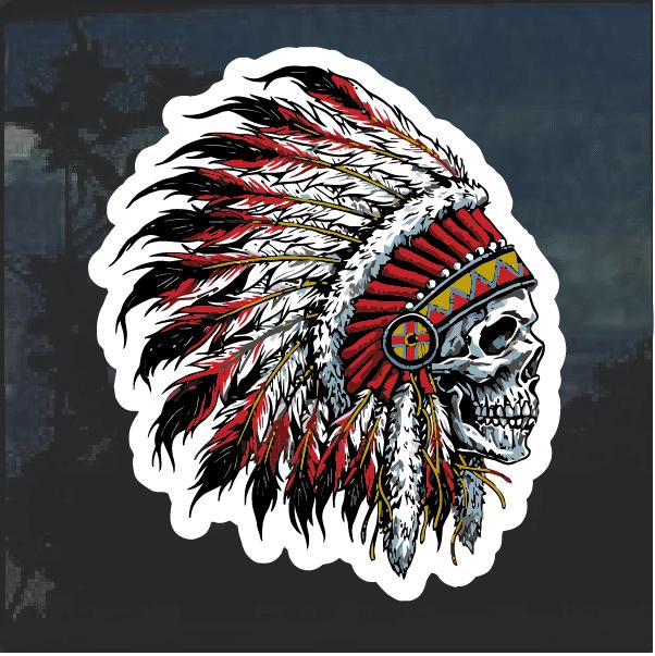 Indian Chief Skull Headdress Window Decal Sticker Custom Sticker Shop