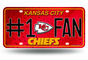 Kansas City Chiefs License Plate #1 Fan Metal Officially Licensed