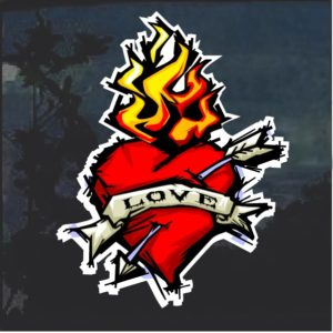 Love Flaming Heart Decal Sticker