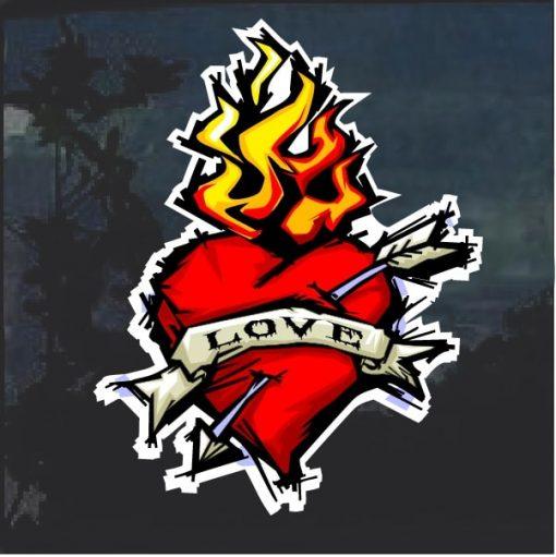 Love Flaming Heart Decal Sticker
