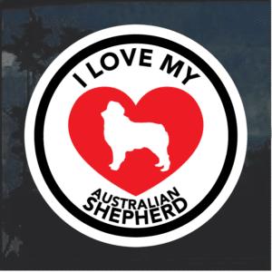 Love my Australian Shepherd heart Window Decal Sticker