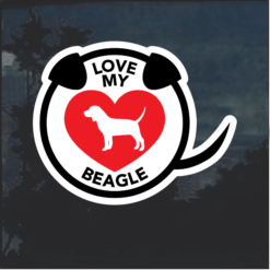 Love my Beagle heart Window Decal Sticker