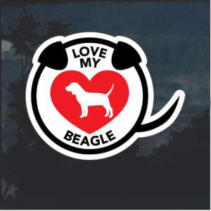 Love my Beagle heart Window Decal Sticker
