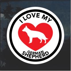 Love my German Shepherd heart Window Decal Sticker