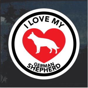 Love my German Shepherd heart Window Decal Sticker