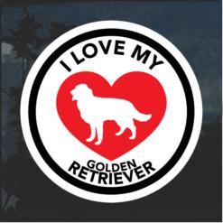 Love my Golden Retriever heart Window Decal Sticker