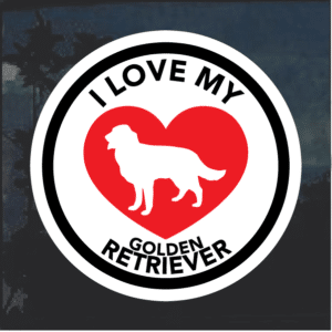 Love my Golden Retriever heart Window Decal Sticker