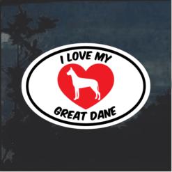 Love my Great Dane heart Window Decal Sticker