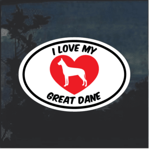 Love my Great Dane heart Window Decal Sticker