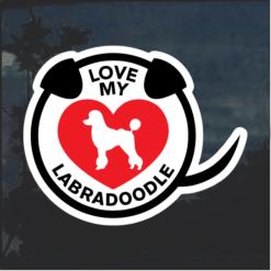 Love my Labradoodle heart Window Decal Sticker