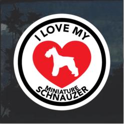 Love my Miniature Schnauzer heart Window Decal Sticker