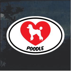 Love my Poodle heart Window Decal Sticker