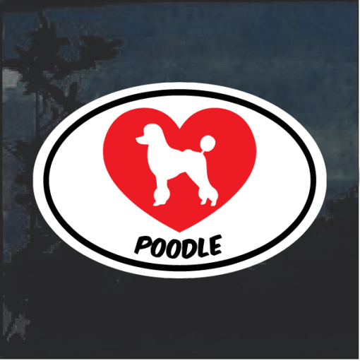 Love my Poodle heart Window Decal Sticker