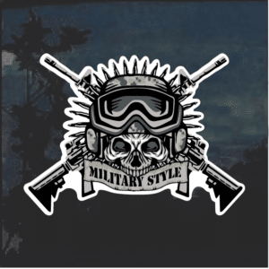 Military style skull window decal sticker