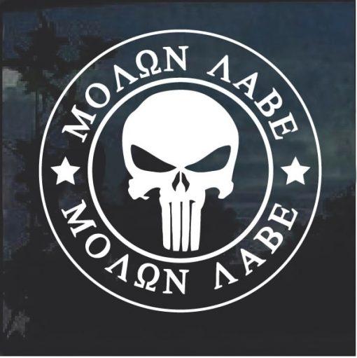 Molon Labe Punisher Skull Window Decal Sticker