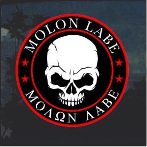 Molon Labe Skull Window Decal Sticker