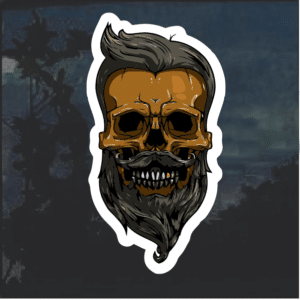 Mustache Beard Skull Window Decal Sticker