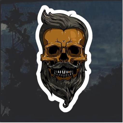 Mustache Beard Skull Window Decal Sticker