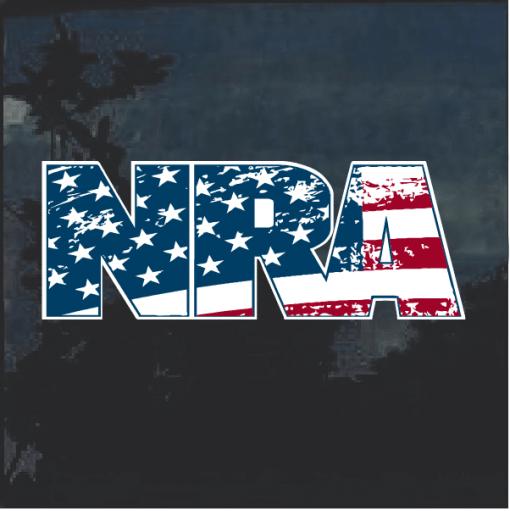 NRA American Flag Window Decal Sticker