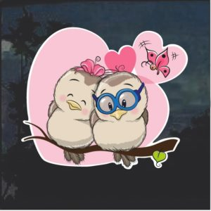 Owls and Hearts Decal Sticker