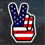 Peace Sign American Flag Decal Sticker