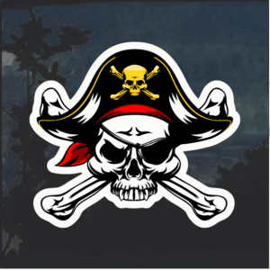 Pirate Skull and Crossbones Color Window Decal Sticker