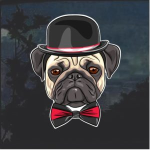 Pug with top hat dog decal sticker