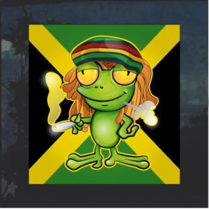 Rasta Pot Smoking Frog Jamaican Decal Sticker